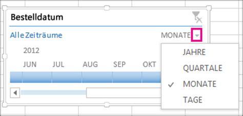 erstellen einer pivottable zeitachse zum filtern von