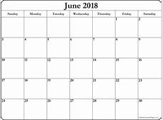 June 2018 free printable blank calendar collection