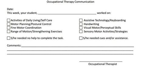 freebie occupational therapy communication log