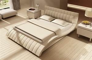 Lit Design En Cuir Italien De Luxe Belia Blanc Mobilier