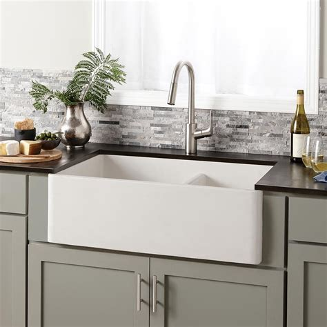double bowl apron front sink farmhouse double bowl concrete kitchen sink native trails