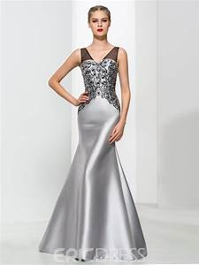 ericdress mermaid v neck beading elegant evening dress With robe de cocktail combiné avec bracelet argent breloque