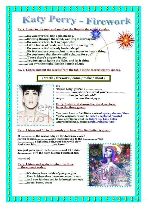 song worksheet katy perry firework worksheet  esl