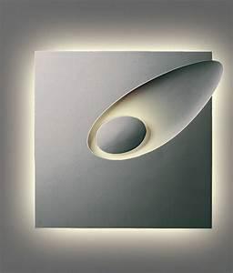 Large Decorative Backlit Plaster Wall Light