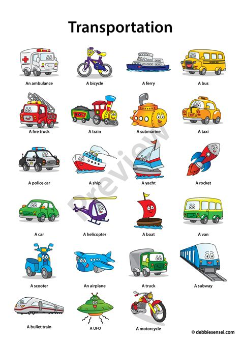Debbie Sensei  Free Esl Transportation Flashcards  Teaching Ideas  Pinterest Inglese