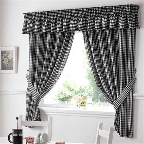 Gingham Ready Made Kitchen Curtains in Black