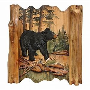 Black bear forest carved wood wall art for Best brand of paint for kitchen cabinets with wire sculpture wall art