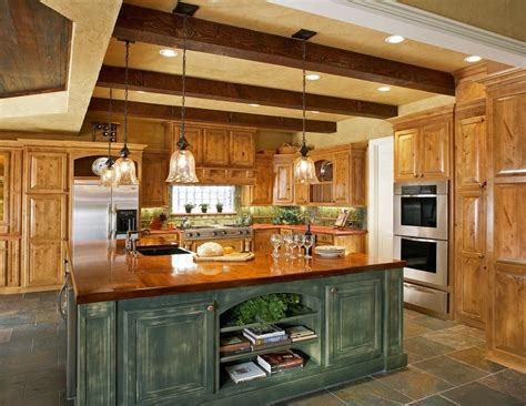 faux finish cabinets kitchen rustic  wood countertops