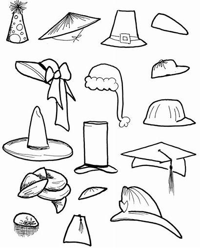 Hats Coloring Hat Pages Cap Printable Drawing