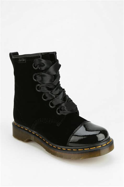 urban outfitters dr martens gracie velvet boot  black lyst