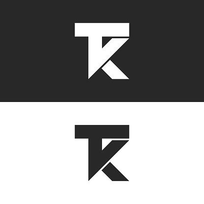 letters tk icon monogram combination  letters    initials minimal style kt identity mark