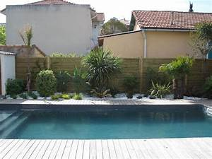 piscine terrasse en bois amenagement paysager avec de With charming amenagement de jardin contemporain 4 creation de massif