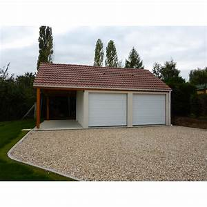 garage double avec auvent modele 113 With modele de garage en dur