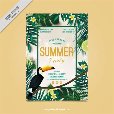 tropical poster template tropical flyer of summer party vector free download