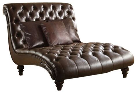 anondale 2 tone espresso leather like armless chaise lounger traditional indoor chaise