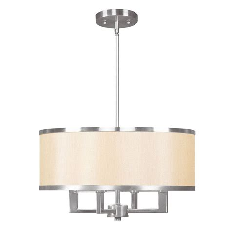 brushed nickel drum chandelier shop livex lighting park ridge 18 in brushed nickel mini