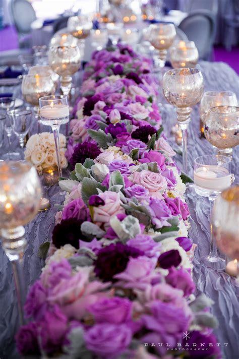 purple wedding table flower centerpiece