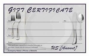 Restaurant gift certificate for Free restaurant gift certificate template