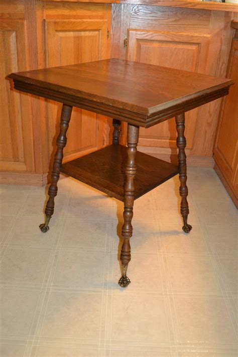 vintage claw foot table antique victorian oak brass ball claw foot end side table