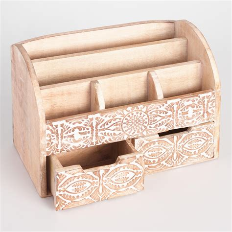 White Wood Desk Organizer by Large Carved Wood Desk Organizer White By