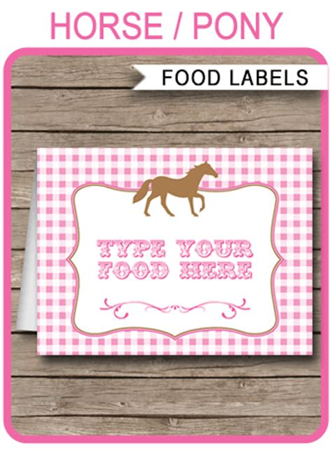 horse party food labels place cards horse theme