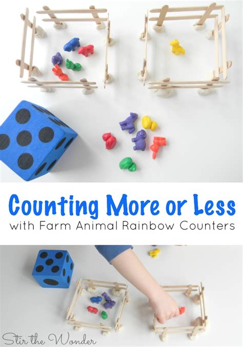 counting more or less with farm animal rainbow counters 745   More or Less Farm Animals