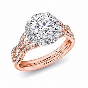 coast diamond engagement ring of the week round diamond With rose gold diamond wedding ring