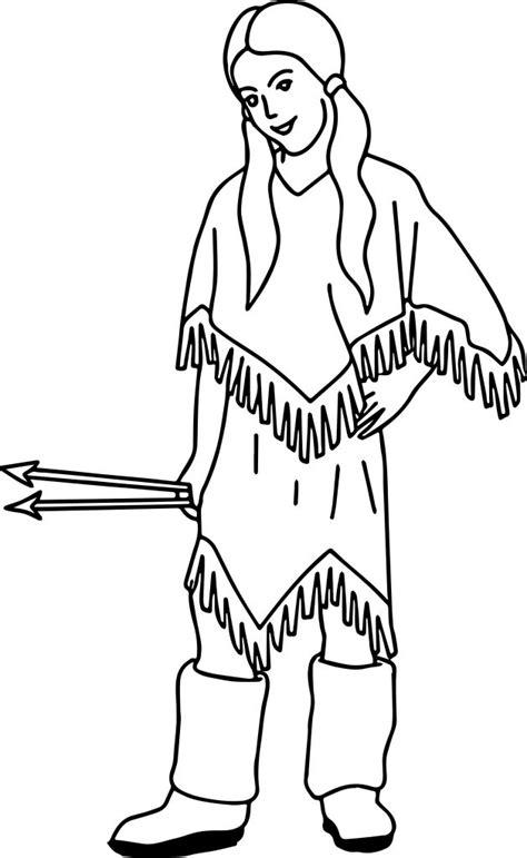 native american indian arrow girl coloring page wecoloringpagecom