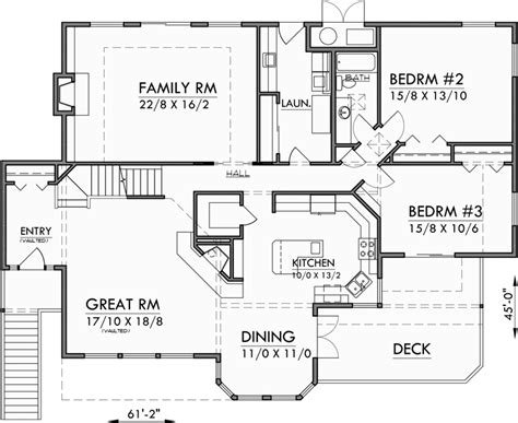 daylight basement floor plans sloping lot house plans daylight basement house plans luxury