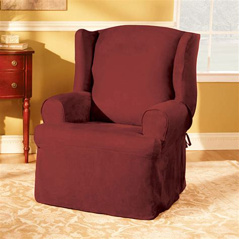 walmart chair slipcovers sure fit suede wing chair slipcover walmart com