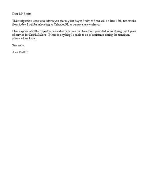 sample resignation letters relocating resignation letter