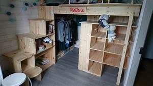 Lit Mezzanine Adulte Avec Dressing : fabrication d 39 un lit en hauteur avec dressing en dessous escalier avec cases de rangement ~ Dode.kayakingforconservation.com Idées de Décoration