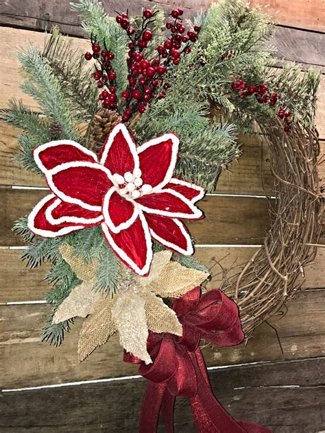 christmas wreath holiday wreath rustic christmas wreath