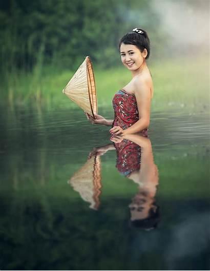 Bathing River Asian Thailand Woman Thai 500px