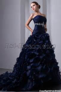 navy blue dress for wedding special navy blue organza ruffled bridal gown 2014 corset 1st dress