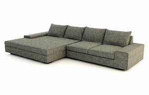 Blumen leather wide chaise sectional viesso for Sectional sofa with wide chaise