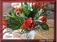 Oster Deko Ostergrüße mit roten Tulpen Hintergrundbild