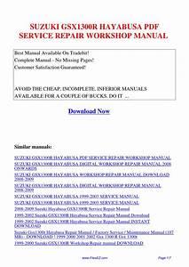 Suzuki Gsx1300r Hayabusa Service Repair Workshop Manual By