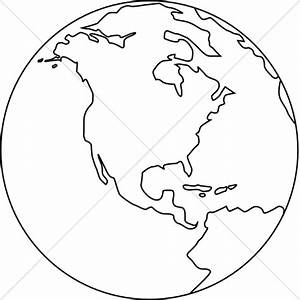 Line Art Globe Black and White | Peace Clipart
