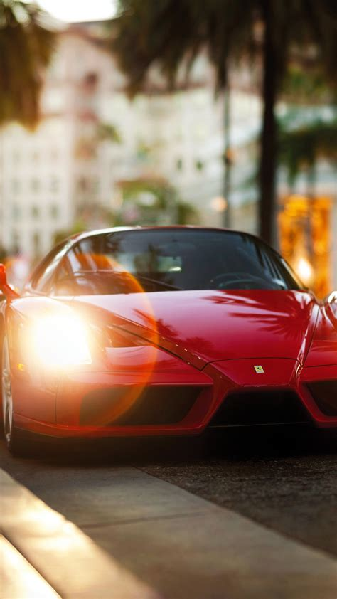 enzo ferrari front view red sports car hd background