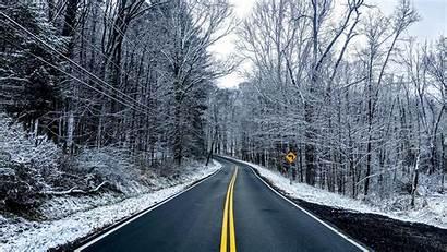 Winter Road Trees Snow Background Asphalt Widescreen