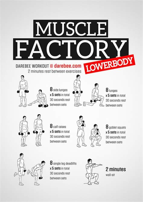 workout workouts darebee muscle factory training upperbody exercises body dumbbell strength lowerbody upper weights weight routines fitness lower leg exercise