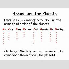 The Solar System Recall The Names Of The Planets Describe Some Characteristics Of Each Planet