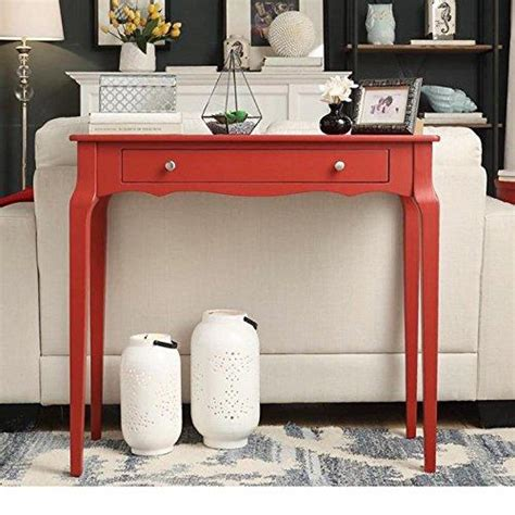 modern red cottage wood narrow end sofa console accent