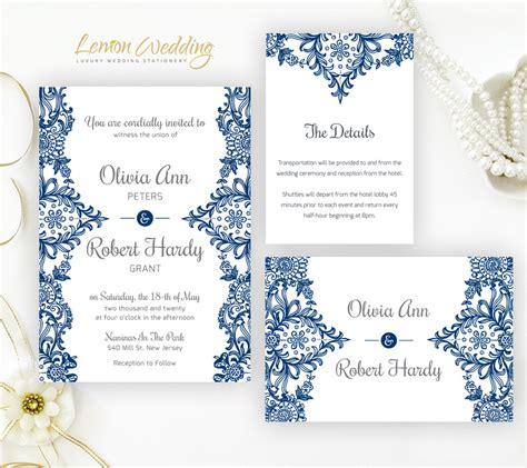 Navy blue wedding invitation sets LemonWedding