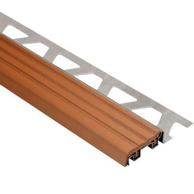tile stair nosing home depot schluter trep se stainless steel with nut brown insert 3 8
