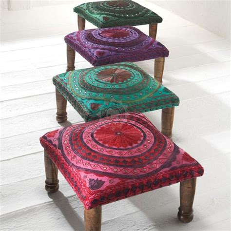 Furniture India by Jaipur Mirror Work Indian Footstool Purple 45x45x20cm