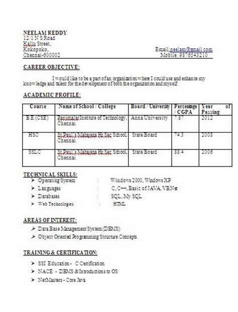 resume format for freshers b tech cse costa sol real