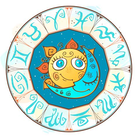 Sun and moon in the zodiac circle. Children's cute style ...
