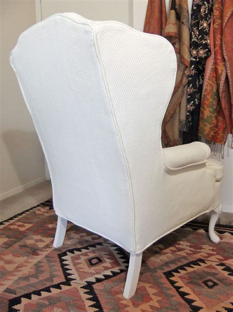 custom made slipcover for wingback chair in cotton
